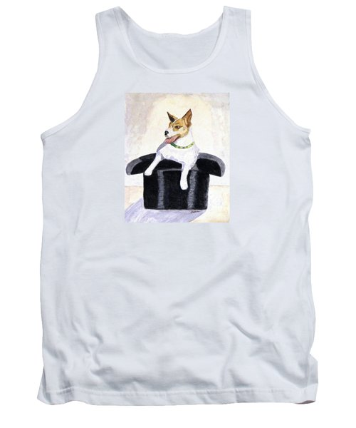Tank Top featuring the painting Reggie In A Top Hat  by Angela Davies