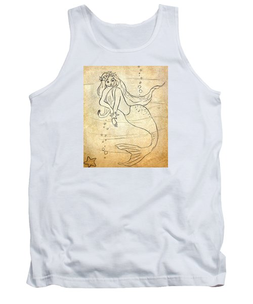 Tank Top featuring the drawing Retro Mermaid by Rosalie Scanlon