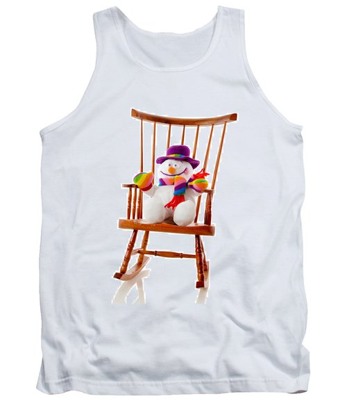 Tank Top featuring the photograph Happy Snowman Sitting In A Rocking Chair  by Vizual Studio