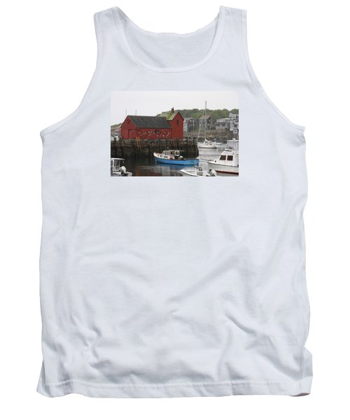 Rockport Inner Harbor With Lobster Fleet And Motif No.1 Tank Top
