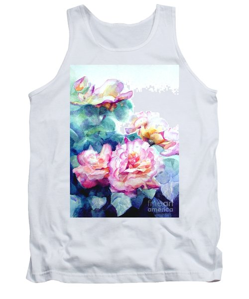 Tank Top featuring the painting Pink Rose Bush by Greta Corens