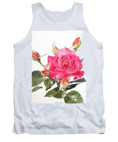 Watercolor Red Rose Margaret Tank Top