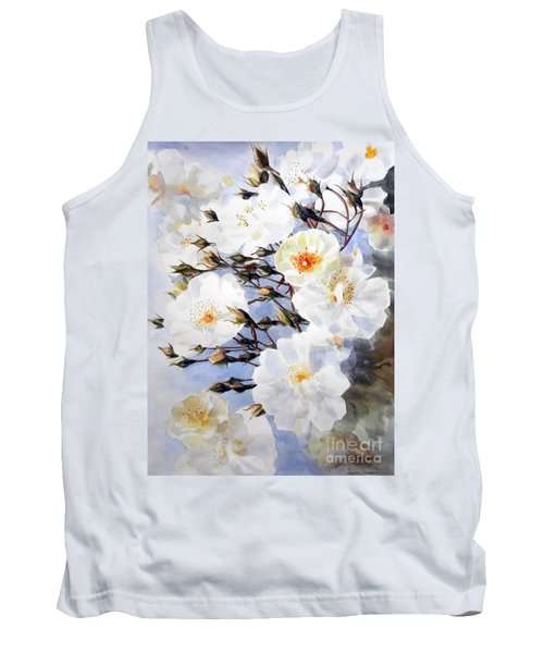 Rose Tchaikowsky A Stem Of White Roses And Buds Tank Top by Greta Corens