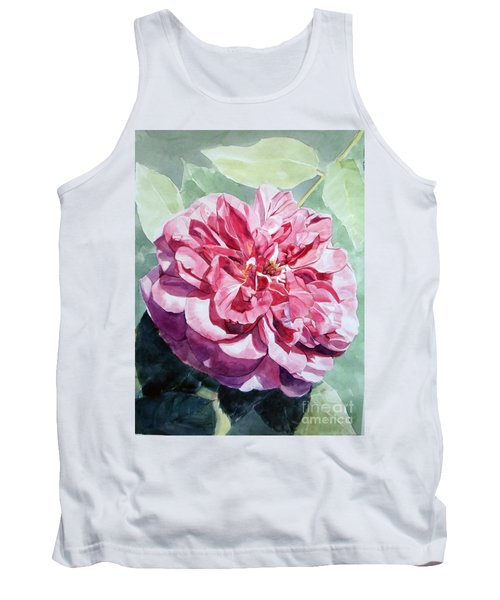 Watercolor Of A Pink Rose In Full Bloom Dedicated To Van Gogh Tank Top