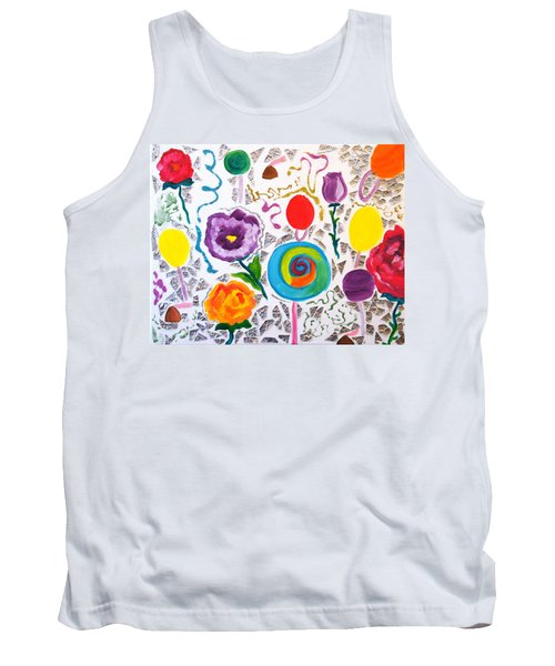 Tank Top featuring the painting Roses And Lollipops For Mom by Meryl Goudey
