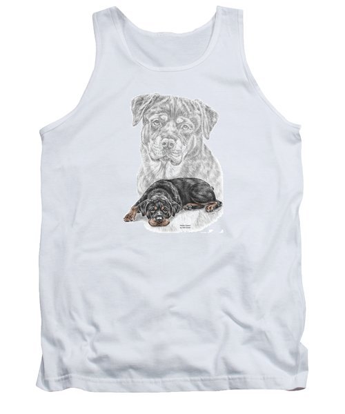 Tank Top featuring the drawing Rottie Charm - Rottweiler Dog Print With Color by Kelli Swan