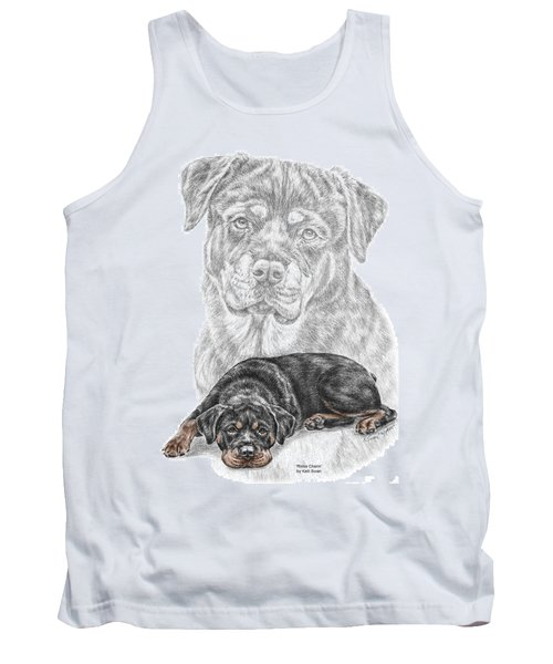 Rottie Charm - Rottweiler Dog Print With Color Tank Top