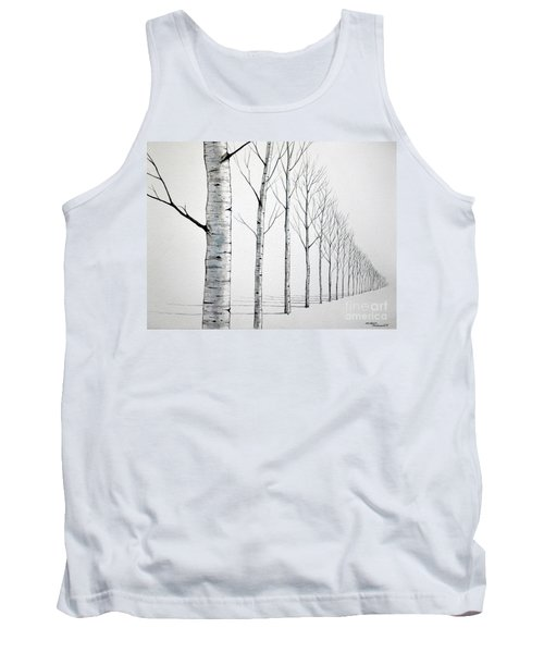 Tank Top featuring the painting Row Of Birch Trees In The Snow by Christopher Shellhammer