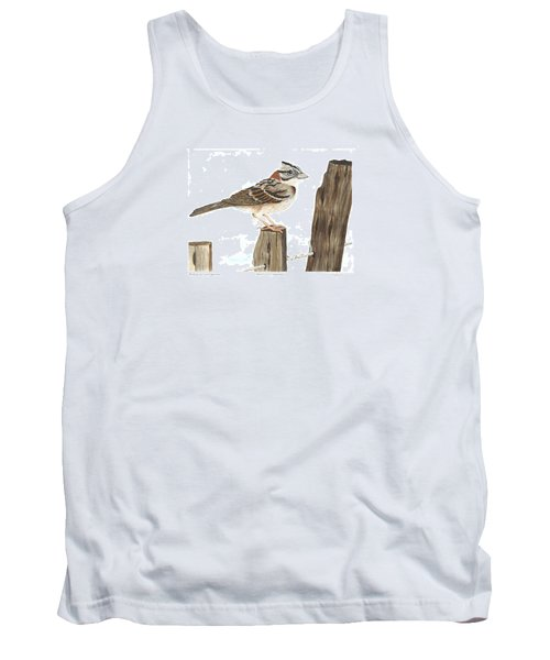 Rufous-collared Sparrow Tank Top by Cindy Hitchcock