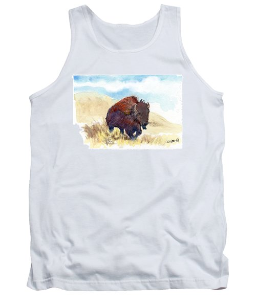 Tank Top featuring the painting Running Buffalo by C Sitton