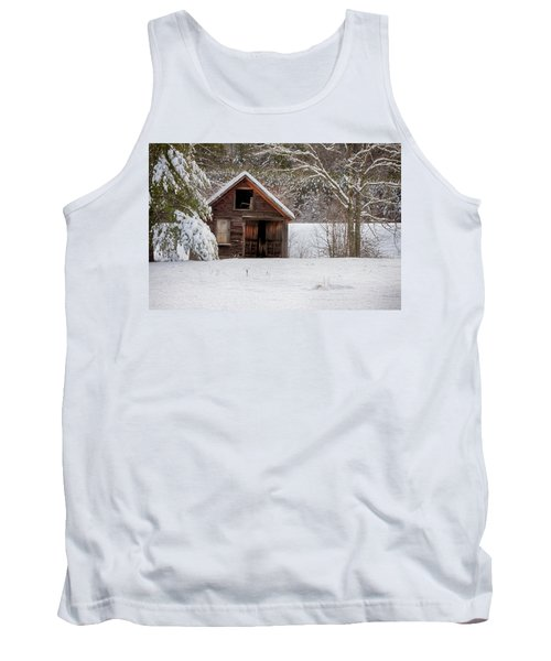 Rustic Shack In Snow Tank Top