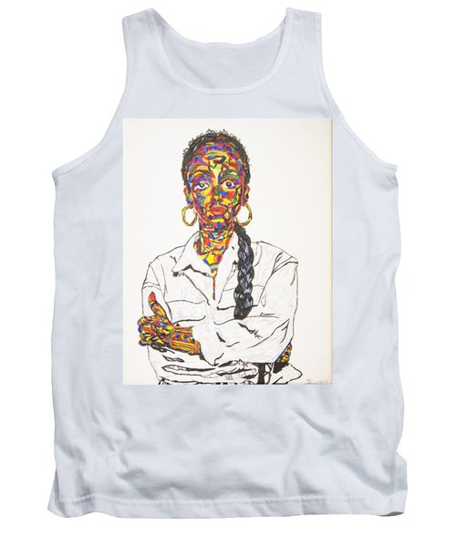 Tank Top featuring the painting Abstract Sade  by Stormm Bradshaw