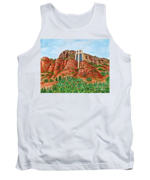 Tank Top featuring the painting Sadona Church by Val Miller