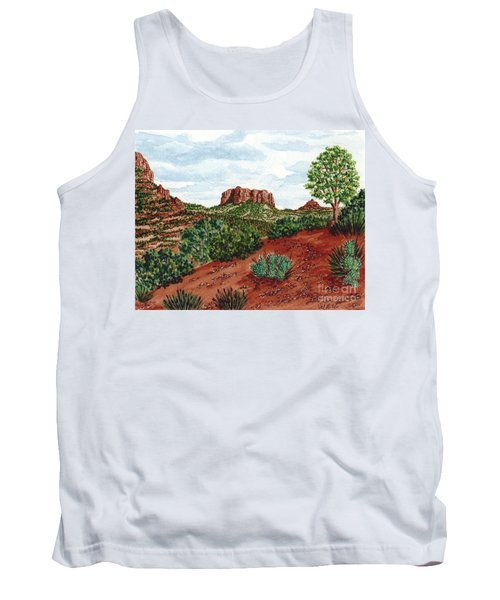 Tank Top featuring the painting Sadona Two Mountains by Val Miller
