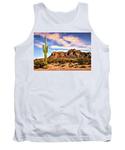 Saguaro Superstition Mountains Arizona Tank Top by Bob and Nadine Johnston