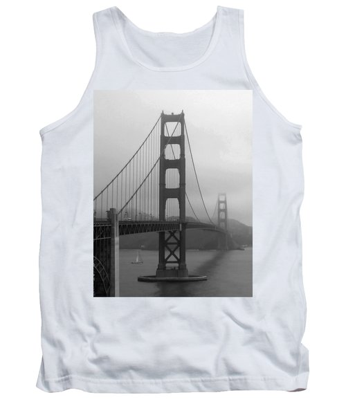 Sailboat Passing Under Golden Gate Bridge Tank Top by Connie Fox
