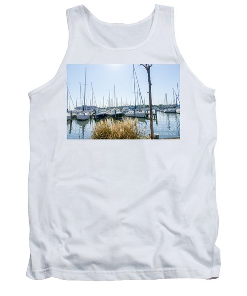 Tank Top featuring the photograph Sailboats On Back Creek by Charles Kraus