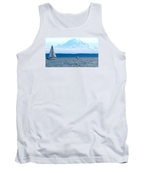 Sailing In Mt. Rainier's Shadow Tank Top