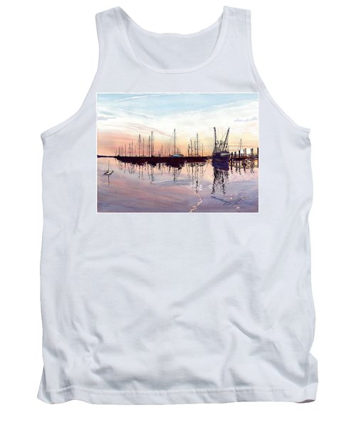 Tank Top featuring the painting Saint Marys Marina   Shadows Light And Fire by Joel Deutsch