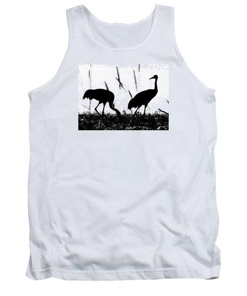 Sandhill Cranes In Silhouette Tank Top