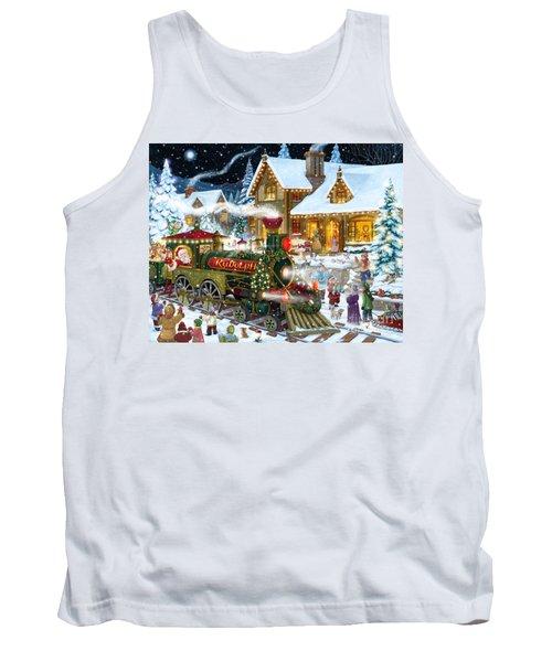 Santa Arrives In Rudolph Train Tank Top