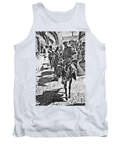 Tank Top featuring the photograph Santorini Donkey Train. by Meirion Matthias