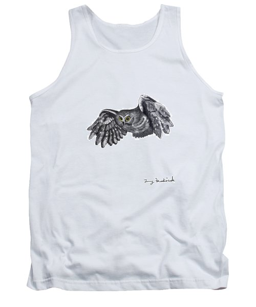 Tank Top featuring the drawing Saw-whet Owl by Terry Frederick