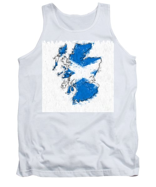 Scotland Painted Flag Map Tank Top