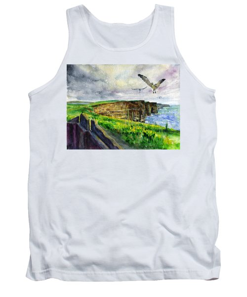 Seagulls At The Cliffs Of Moher Tank Top by John D Benson
