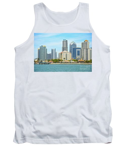 Seaport Village And Downtown San Diego Buildings Tank Top by Claudia Ellis