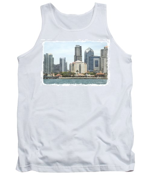 Seaport Village And Downtown San Diego Watercolor Tank Top by Claudia Ellis