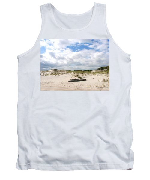 Tank Top featuring the photograph Seaside Driftwood And Dunes by Pamela Hyde Wilson