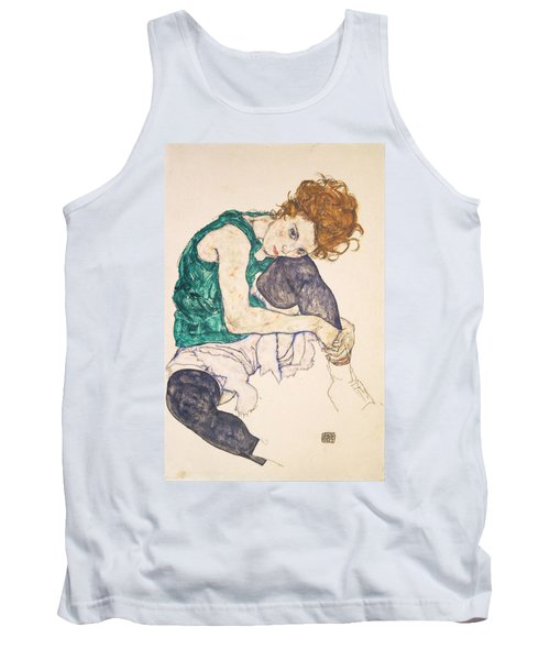 Seated Woman With Legs Drawn Up. Adele Herms Tank Top by Egon Schiele
