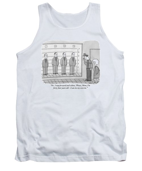 Several Men Dressed In Suits Stand In A Suspect Tank Top