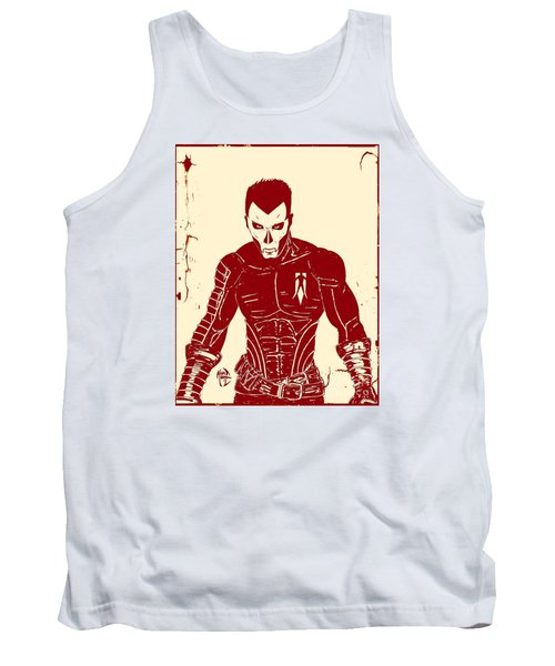 Tank Top featuring the drawing Shadowman Poster by Justin Moore