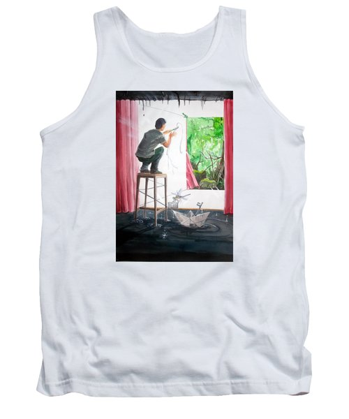 Shaping The Peace Listen With Music Of The Description Box Tank Top by Lazaro Hurtado