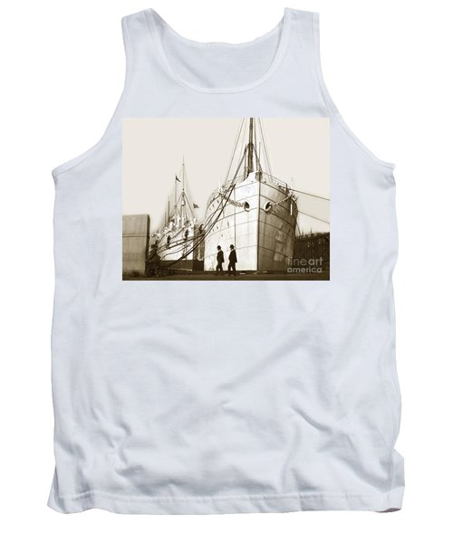Tank Top featuring the photograph Steam Ships San Francisco California   Circa 1900 Historical Photo by California Views Mr Pat Hathaway Archives