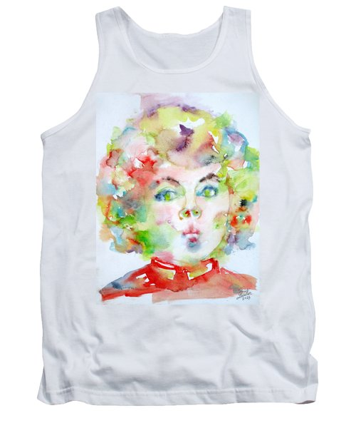 Shirley Temple - Watercolor Portrait.2 Tank Top by Fabrizio Cassetta