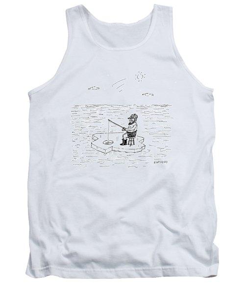 Shirtless Man Ice Fishing Tank Top