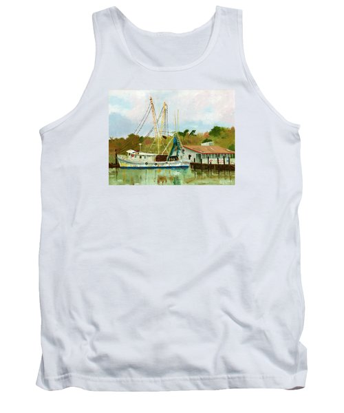 Shrimp Boat At Dock Tank Top