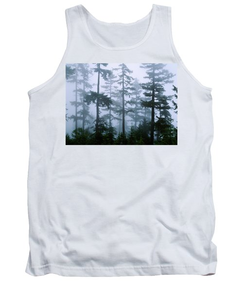 Silhouette Of Trees With Fog Tank Top by Panoramic Images