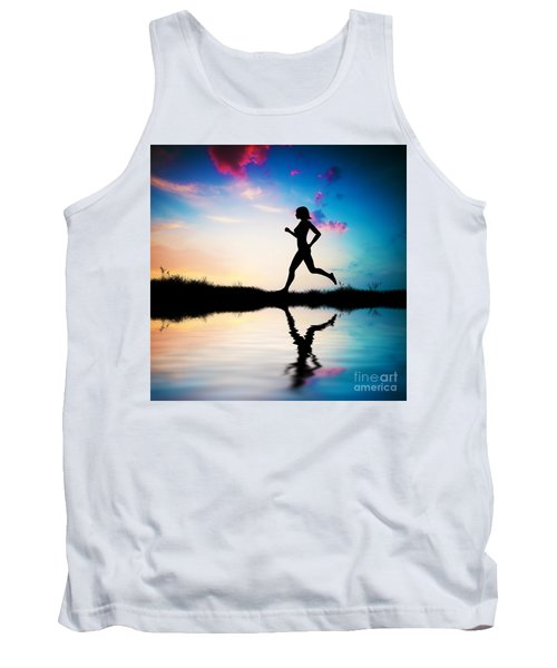 Silhouette Of Woman Running At Sunset Tank Top