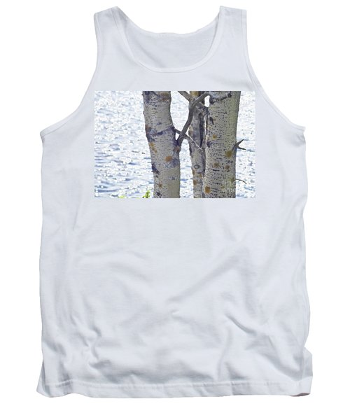 Silver Birch Trees At A Sunny Lake Tank Top