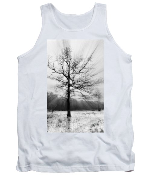 Single Leafless Tree In Winter Forest Tank Top