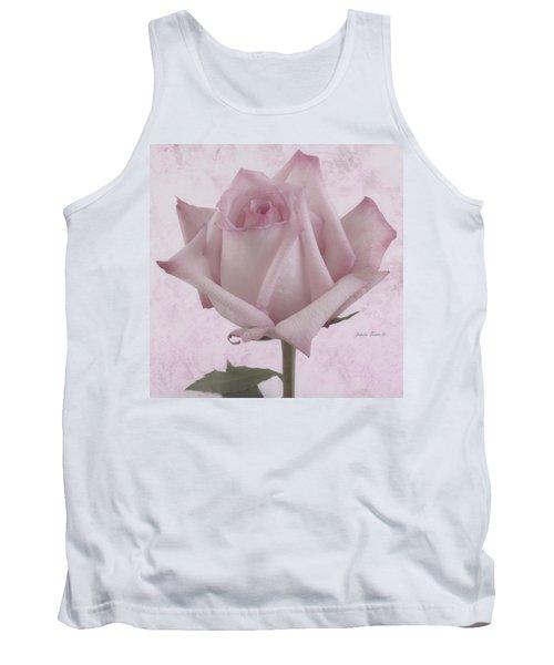 Single Pink Rose Blossom Tank Top