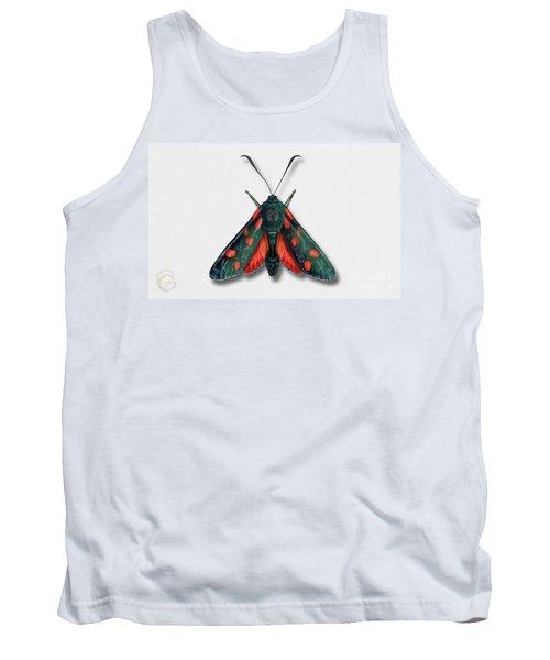 Six Spot Burnet Butterfly - Zygaena Filipendulae Naturalistic Painting - Nettersheim Eifel Tank Top