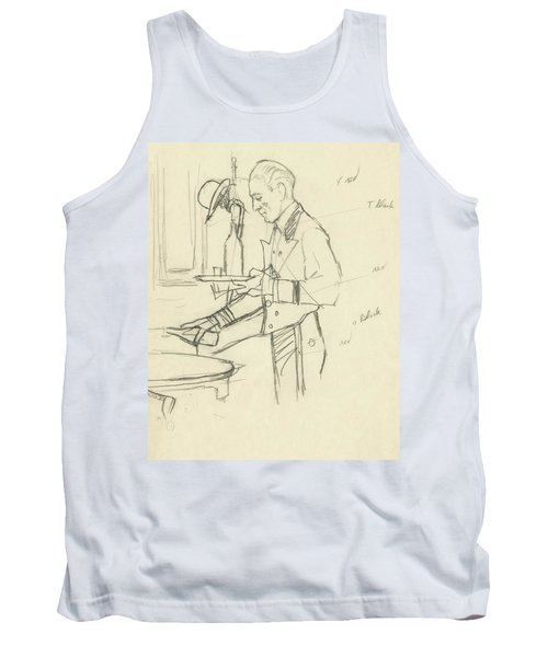 Sketch Of Waiter Pouring Wine Tank Top