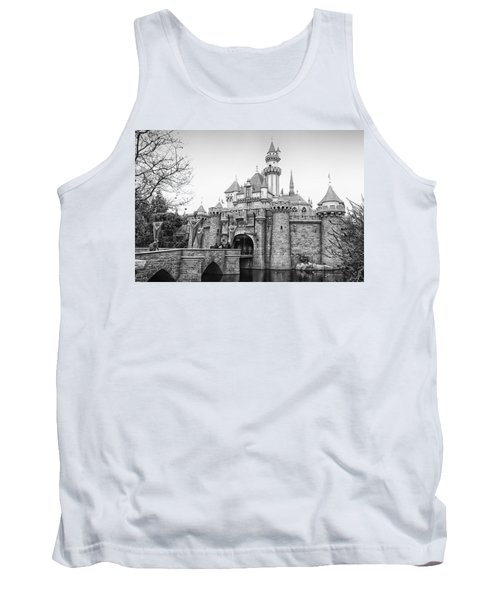 Sleeping Beauty Castle Disneyland Side View Bw Tank Top by Thomas Woolworth