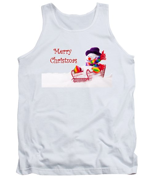 Tank Top featuring the photograph Snowman Riding In A Red Sleigh - Christmas  by Vizual Studio
