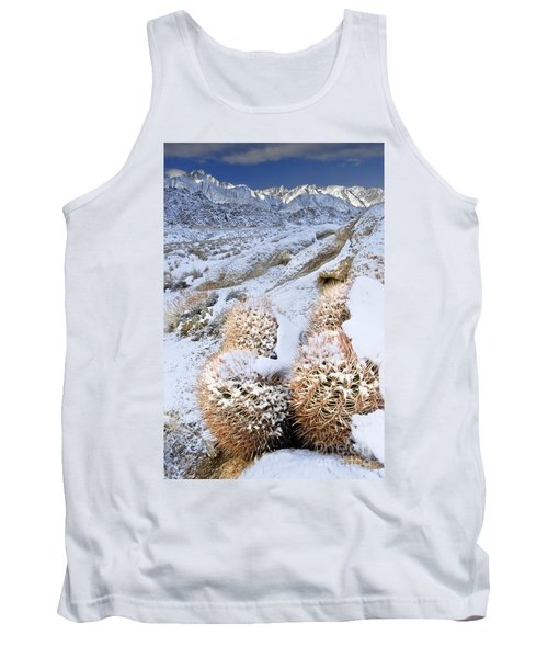 Tank Top featuring the photograph Snow Covered Cactus Below Mount Whitney Eastern Sierras by Dave Welling